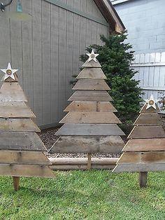 Reciclado Barn Yard Art país madera árbol de Navidad árboles de Navidad Decoración Del Jardín