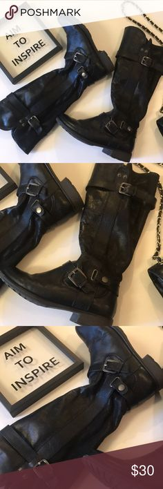 Motorcycle Biker Knee High Boots leather black Gently used in almost prestige condition. Has soft fur lining inside and is true to 7 1/2. Clean bottom. No tear or wears. Gun mental colors. Leather man made. Shoes Combat & Moto Boots