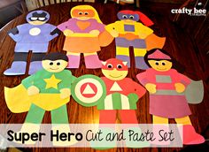 Super Hero Cut and Paste Set that includes patterns and directions for copying and tracing by hand.