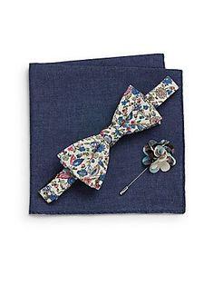 Original Penguin Bering Floral-Print Bow Tie, Plaid Flower Pin & Pocke