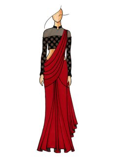 Maroon Plain Saree with Gorgeous Half N Half Closed Neck Blouse Latest Elegant Saree CLICK Visit link above for more options Dress Design Drawing, Dress Design Sketches, Fashion Design Sketchbook, Fashion Design Drawings, Fashion Sketches, Art Sketches, Fashion Figure Drawing, Fashion Drawing Dresses, Fashion Illustration Dresses