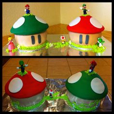 Super Mario Birthday cakes using one of those giant cupcake pans for the toadstools by www.amberslittlecupcakery.com