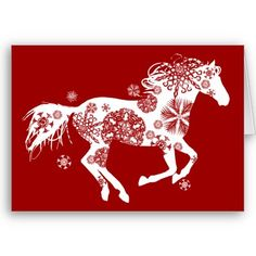Snowflake Horse Holiday Greeting Card from http://www.zazzle.com/horse+christmas+cards