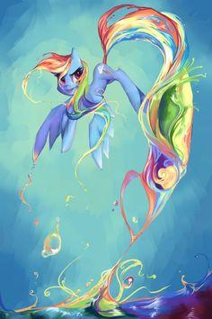 flowy swirly hair painting   ... rainbow rainbow_cutie_mark rainbow_dash rainbow_hair solo tongue what