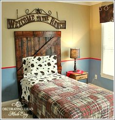 DIY Headboard made from old wood. My little cowboy client needed a new headboard. So, I saddled up and rode to the local flea market. I found some ol...