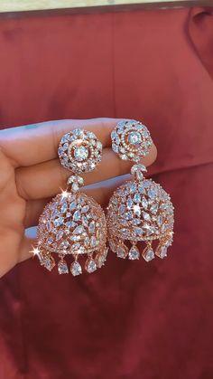 Diamond Jhumkas, Diamond Earrings, Ear Jewelry, Wedding Jewelry, Stylish Jewelry, Fashion Jewelry, American Diamond Jewellery, Crystal Wedding, Wedding Earrings