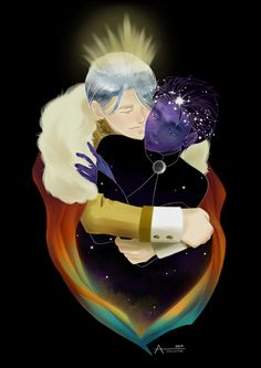 """rainlikestars: """" """"Of cloudless climes and starry skies. """" For @beanpots """"Day & Night AU"""". Because I just couldn't get enough of this gem. ( o^^o) """" #dayandnightau #yurionice #beanpots #victuuri"""