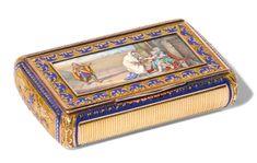 A gold and enamel snuff box, German, circa 1825 Estimate 5,000—7,000GBP  (7,212-10,097USD);  LOT SOLD.12,500 GBP(18,030 USD);  10/05/16.      sotheby's l16301lot7khvken
