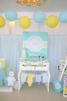 Doily & Polka Dots in Teal & Yellow Dessert Table Set-up, cake, cupcakes & cookies: Sweet PEA by Genesis Sison-Basiao Cakepops & oreos: Praisel Tabefranca-Arangcon Photographer: CM Fotographia