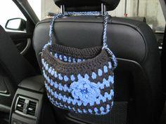 Crochet Caddy poggiatesta auto con un fiore, Accessori auto - pervinca chiaro / scuro grigio (CCHC1D-F2)