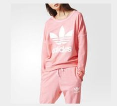 Pink Adidas, Workout Tops, Trendy Outfits, Essentials, Graphic Sweatshirt, Shoulder Tops, Hoodies, Sweat Shirt, Polyvore