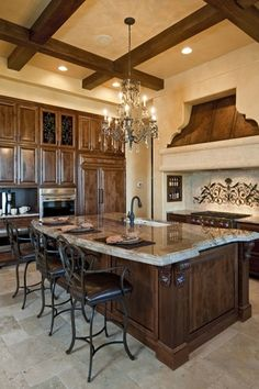 Mediterranean Kitchen with Brantford Oil Rubbed Bronze Pullout Spray Bar Faucet with Reflex Technology, Custom hood