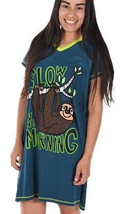 Sloth Women's Animal Pajama Nightshirt by LazyOne Sloth Pajamas, Animal Pajamas, Kids Pajamas, Pajamas Women, Sloth Sleeping, Bright Shorts, Tie Dye Pants, Pajama Outfits, Baby Sloth