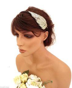 Gold Sequin Leaf Design Headband Hair band Fascinator 20's Art Deco Flapper look