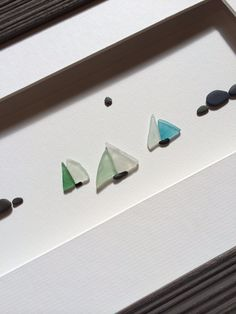 Sea glass and pebble sail boats by sharon nowlan by PebbleArt, $150.00