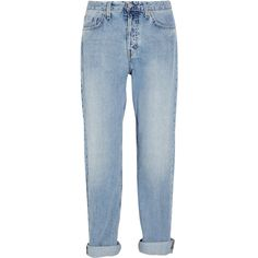 MiH Jeans The Halsy high-rise straight-leg jeans (63.305 CLP) ❤ liked on Polyvore featuring jeans, pants, bottoms, trousers, light denim, faded jeans, high waisted distressed jeans, destroyed jeans, high rise straight leg jeans and blue ripped jeans