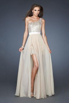 2014 Prom Dresses Sheath/Column High Low One Shoulder Chiffon Beading/Sequins