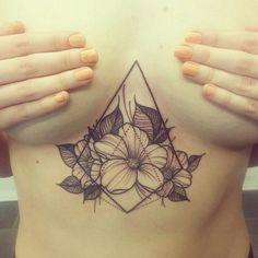 Floral geometric sternum tattoo. By marielle at Tro Håp & Kjærlighet, Oslo