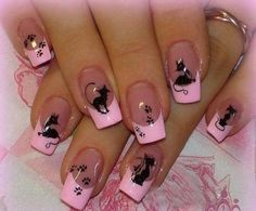 Color always plays an important role in nail art designs. When you have a nail art ideas, the color is one of considerations in your design as it could express Nail Designs 2017, Shellac Nail Designs, Heart Nail Designs, Black Nail Designs, Shellac Nails, Cool Nail Designs, Nails Design, Acrylic Nails, Cat Nail Art