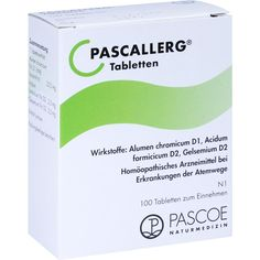 PASCALLERG Tabletten:   Packungsinhalt: 100 St Tabletten PZN: 07703644 Hersteller: PASCOE pharmazeutische Präparate GmbH Preis: 7,11 EUR…