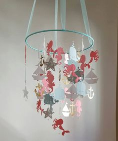 Bébé Mobile coloré corail saumon Aqua argent or voilier sirène océan Seahorse nautique Baby Nursery personnaliser couleurs taille et modèles