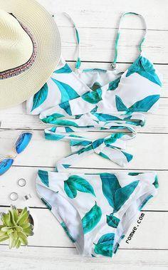 White Leaf Print Wrap Detail Bikini Set