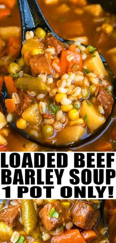 Quick and easy beef barley soup recipe, made with simple ingredients in one pot. A weeknight meal loaded with Italian seasoning, vegetables, tender beef. Beef Soup Recipes, Vegetable Soup Recipes, Healthy Soup Recipes, Ground Beef Recipes, Dinner Recipes, Recipes With Ground Deer, Simple Soup Recipes, Easy Recipes, Homemade Vegetable Beef Soup