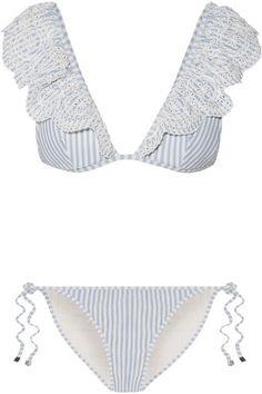 Zimmermann - Meridian Ruffled Striped Broderie Anglaise Triangle Bikini - Blue
