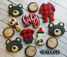 Lumberjack Baby Bear Buffalo Plaid Baby Shower cookie set  | Etsy