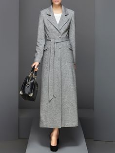 Shop Coats A-line Lapel Long Sleeve Elegant Coat online. Muslim Women Fashion, Modern Hijab Fashion, Abaya Fashion, Modest Fashion, Fashion Outfits, Abaya Mode, Mode Hijab, Abaya Style, Winter Coats Women