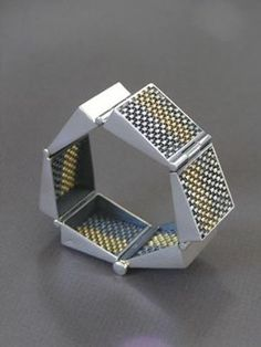 Mobilia Gallery   Hanne Behrens   Bracelet    Woven silver and gold
