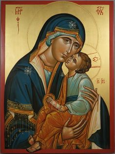 High quality hand-painted Orthodox icon of Theotokos Sweet Loving. BlessedMart offers Religious icons in old Byzantine, Greek, Russian and Catholic style. Religious Images, Religious Icons, Religious Art, Byzantine Icons, Byzantine Art, Greek Paintings, Paint Icon, Madonna And Child, Catholic Art