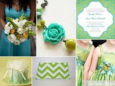 Party Pizazz   Tiffany Blue, Chartreuse   White