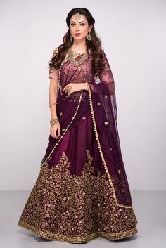 ABHILASHA Wine And Peach Embroidered Lehenga Set