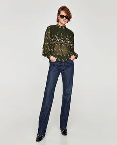 ZARA - WOMAN - EMBROIDERED BLOUSE WITH RUFFLES