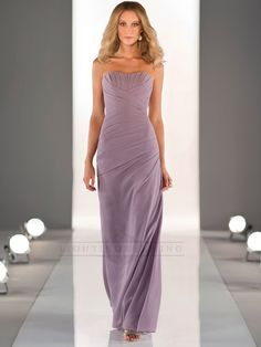 Sleeveless Floor Length Bridesmaid Dress with Criss-crossed Ruched Bodice