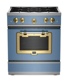 Eye-catching trim in finishes like brushed brass gives this 30-inch gas range a little attitude. Pro-style Btus and a convection oven make it hardworking, too. Design mavens will like its 24-inch depth, so it's flush with cabinets, and the choice of six colors, including this French blue. Classic 1900 Series Stove, about $4,895; bigchill.com