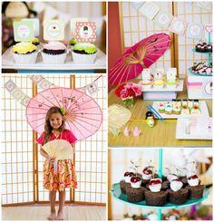 Japanese Kokeshi Doll with Lots of Cute Ideas via Kara's Party Ideas KarasPartyIdeas.com #Japan #Party #Ideas Kawaii party for a 6 year old girl