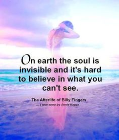 """On earth the soul is invisible and it's hard to believe in what you can't see."" ~ The Afterlife of Billy Fingers"