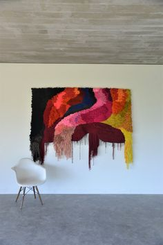 Includes natural dyes, Indigo, Madder and Saffron 'Scarlett' 2018 Woven Dream Series x Weaving Textiles, Weaving Art, Tapestry Weaving, Loom Weaving, Hand Weaving, Weaving Wall Hanging, Tapestry Wall Hanging, Geometric Quilt, Textile Fiber Art