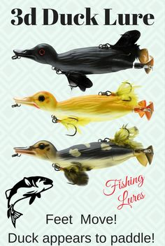 3D Topwater Duck Lure.  Feet move and appears to paddle.  3 different duck colors and 2 different sizes to choose from. - Bait Cast -and- Fish Reels