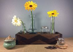 Affectionately called the Charlie Brown box, this rustic wooden box is gorgeous and holds a variety of purpose.Designed to hold four mason Rustic Wood Box, Rustic Centerpieces, Wood Boxes, Bud Vases, Custom Wood, Charlie Brown, Garden Wedding, Chevron, Purpose