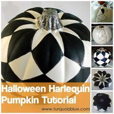 Halloween Harlequin Pumpkin Tutorial by www.turquoizblue.com #halloween #pumpkin #tutorials