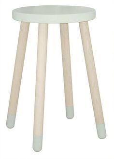 Wysoki stołek lub stolik nocny,miętowy MDF i jesion, śr.30x47