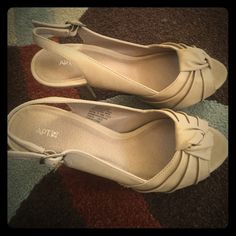 APT.9 nude platform heels size 6 APT.9 nude platform heels size 6, worn once for a wedding, cork on back of heels is scraped (see picture 4). You can dress these up with a dress, or they look really cute with jeans for a more casual look Apt. 9 Shoes Heels