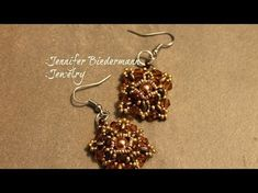 (73) Superduo and crystal square earrings tutorial - YouTube