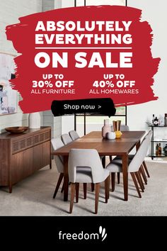 We've put absolutely everything on sale. Visit our website today! Afterpay & Zip available. Dining Room Design, Dining Rooms, Furniture Ideas, Home Furniture, Freedom Furniture, Absolutely Everything, Indoor Outdoor Furniture, Kitchen Tops, Dark Blonde