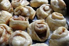 THESE WERE SO GOOD!!!!!! I think they are even better than Pillsbury Cinnamon rolls! Cinni minis made from crescent roll dough (an old Southern Living recipe).
