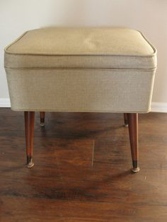 Vintage Mid Century Modern Singer Sewing Stool Seat w/ Storage by marketsquareus on Etsy