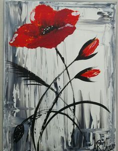 Acrylic painting on canvas - Art Painting Acrylic Painting Flowers, Abstract Flowers, Acrylic Art, Acrylic Painting Canvas, Abstract Canvas, Canvas Art, Painting Techniques, Flower Art, Watercolor Paintings
